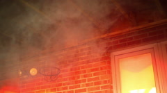 House burning on fire emergency Stock Footage