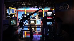 Shooting television program of channel SNY in NYC. Stock Footage