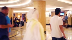 People in hall of hotel Hilton in NYC, United States Stock Footage