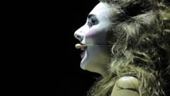 actress in makeup plays a role in the dark . Music, show, theatre, art - stock footage