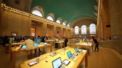People in Apple store in NYC, United States. Stock Footage