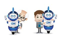 Scientist and robot Stock Illustration