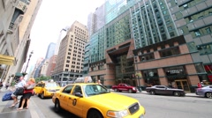 Taxi on street. Yellow taxi of New York is recognized symbol of city Stock Footage