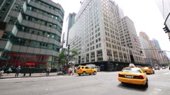 Taxi move on street. Yellow taxi of NY is recognized symbol of city Stock Footage