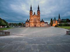 Fulda Cathedral at dusk Fulda Hesse Germany Europe - stock photo