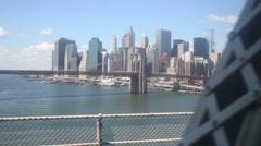Movement on Queensboro Bridge. Brooklyn bridge, New York city Stock Footage