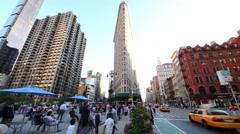 Flatiron Building is triangular 22-story landmarked building Stock Footage