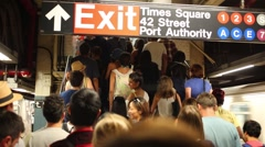 Many people in a metro in NYC, United States. Stock Footage