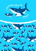 Swimming makes me hungry repeat pattern background Stock Illustration