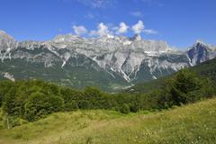 View over Thethi valley towards Radohima and Arapi mountain Theth Thethi - stock photo