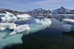 Pack or drift ice in Kong Oscars Havn Ammassalik Island East Greenland - stock photo
