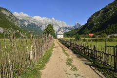 Theth Thethi valley Theth Thethi Nationalpark Albanian Alps The Balkans Albania - stock photo