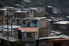 Slum favelas Comuna 8 Medellin Antioquia Department Colombia South America - stock photo