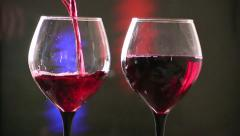 Red Wine Poured in Glass Stock Footage