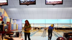 People play bowling Brunswick in NYC, United States Stock Footage