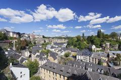 Stock Photo of View from the upper town on the Grund district Luxembourg City Grand Duchy of