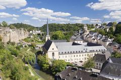 Neumunster Abbey in the Grund district behind former fortress wall UNESCO World - stock photo