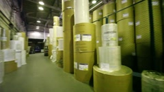 Storage with large rolls of paper in Polygraph complex Stock Footage