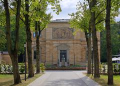 Stock Photo of Villa Wahnfried home of Richard Wagner 18131883 bust of Louis II in front