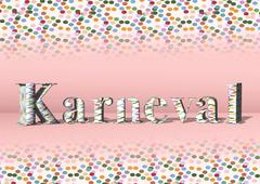 Stock Illustration of 3D lettering Karneval or carnival with colorful confetti