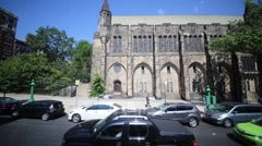 Cars and church. New York City - largest city in United States Stock Footage