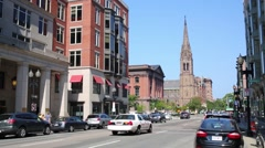 Cars and Church on Arlington street in Boston, United States. Stock Footage