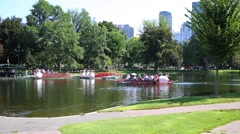 Boats on pond in Boston Public garden in Boston, United States. Stock Footage