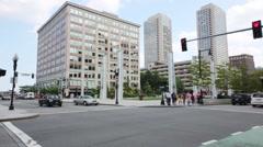 People go on crosswalk. Every year, 20 million tourists visit Boston Stock Footage