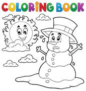 Coloring book melting snowman - eps10 vector illustration. Stock Illustration