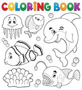 Coloring book ocean fauna topic - eps10 vector illustration. - stock illustration