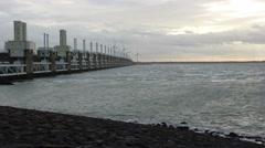 The Oosterschelde barrier / Eastern Scheldt storm surge barrier in Zeeland Stock Footage