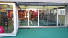 Modern fitness center with special equipment. Outdoor view Stock Footage