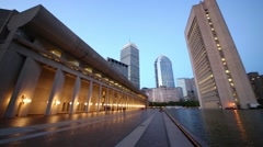 Pond in Christian Science Center at evening in Boston, United States. Stock Footage