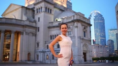 Woman in Christian Science Center at evening in Boston Stock Footage