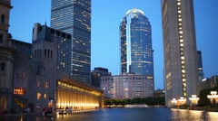 Beautiful Christian Science Center with pond at evening Stock Footage