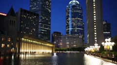 Christian Science Center and pond at night in Boston, United States. - stock footage