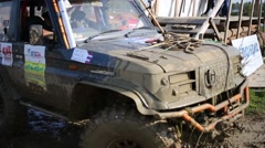 Jeep moves in off-road competition RainForest Challenge Russia Stock Footage