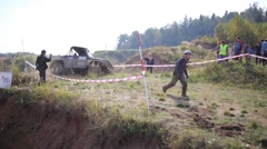 SUV moves in off-road competition RainForest Challenge Russia Stock Footage