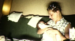 New MOTHER Holds Newborn Infant BABY 1950s Vintage Film Home Movie 9012 Stock Footage