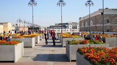 People walk on Patriarchal bridge in Moscow. Stock Footage