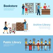 Library Horizontal Banners Set Stock Illustration
