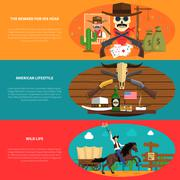 Cowboy Banner Set Stock Illustration