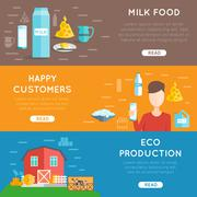 Milk flat banner set Stock Illustration