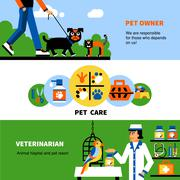 Veterinary banners with pet and veterinarian - stock illustration
