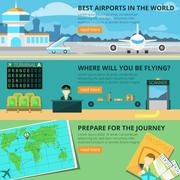 Airport banner set Stock Illustration