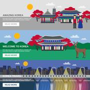 Korean Culture 3 Flat banners Set - stock illustration