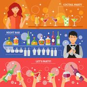 Cocktail Party Night Bar Flat Banners - stock illustration