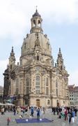 Tourists at Dresden Frauenkirche - stock photo