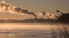 Factory chimneys smoke, seaside mist, sea water, speedup Stock Footage