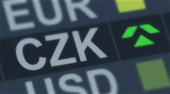 Czech koruna rising, falling. World exchange market. Currency rate fluctuating Stock Footage